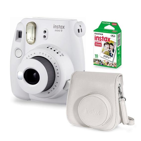 Câmera Instax Mini 9 Smoky White + Filme + Case Câmera