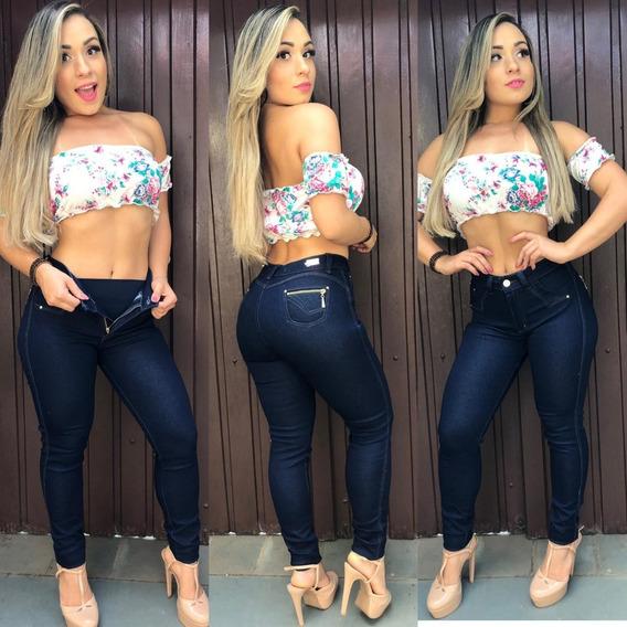 Kit 3 Calça Jeans Feminina Cinta Modeladora Levanta Bumbum