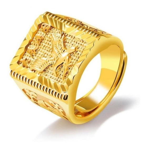Anel De Luxo Ajustável Cor De Ouro Dos Homens Grande Águia