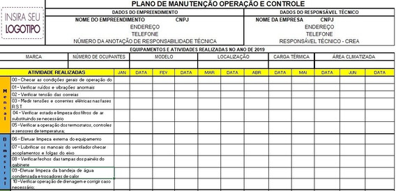 Planilha Pmoc - Editável Para Responsável Técnico, Empresa