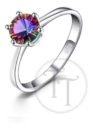 Anillo Topacio Arcoiris 1 Ct Plata Esterlina 925 Solitaire