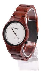 Relógio Masculino Truliny Falcon Madeira Sândalo Vermelho