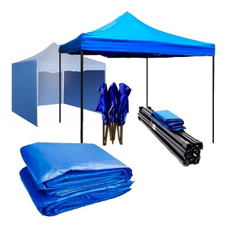 Toldo Plegable Pared Azul 3x3 + Pared Laterales Toldo
