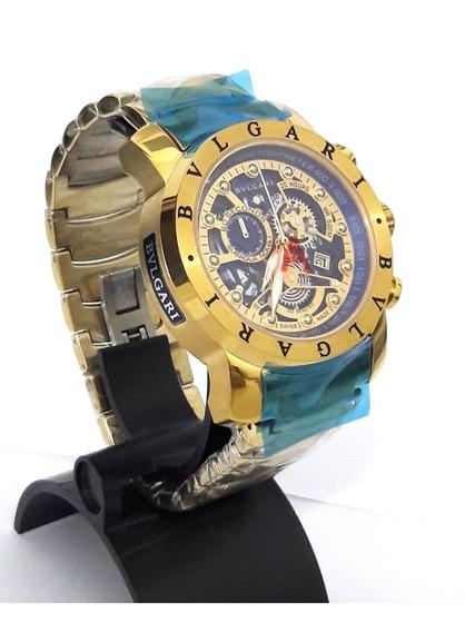 Relógio Bv Luxo Funcional Original Ouro Skeleton Bateria 12x