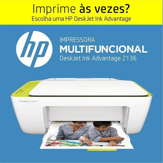 Multifuncional Hp Ink Advantage 2136 Impressão Copia Scanner