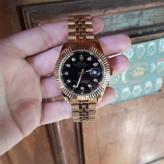 Relógio Aço Dourado/prata Unissex + Caixa, Várias Cores