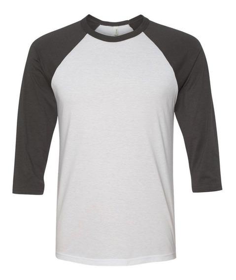 Camisa Camiseta Raglan Masculina Manga 3/4 Algodao Slim