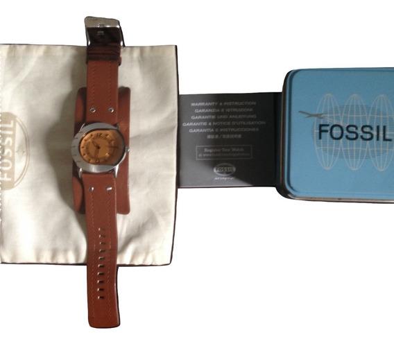 Relógio Masculino Bracelete Fóssil Couro Marrom Original