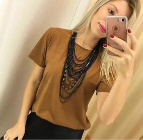 Blusa Camisa Suede Amarração Feminino Moda Promoção P Ao Gg