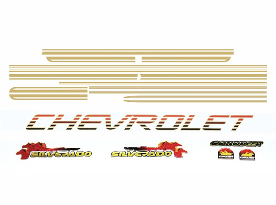 Adesivo Kit Faixa Chevrolet Silverado Conquest 99 Sv001