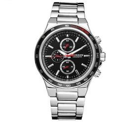 Relógio Masculino Com Pulseira De Aço Inox Curren Prata