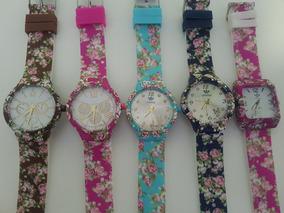Kit 10 Relógios Floridos+ Caixa Da Marca