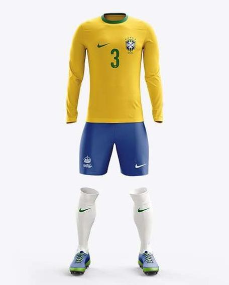 Kit Mockup Futebol Yellow Images Gola Careca Manga Longa