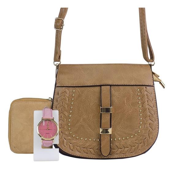 Kit Bolsa Feminina Tiracolo + Carteira Luxo+ Relógio Dourado