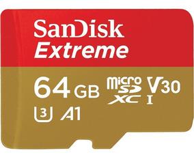 Cartão Memória 64gb Microsd Extreme Sandisk Cl10 100mb/s U3