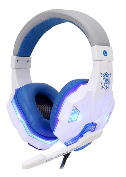 Fone De Ouvido Headset Gamer Computador Ps4 Branco Led