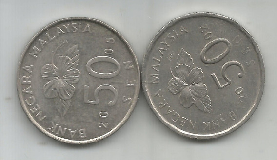 M 7176 Malaysia Lote 2 Monedas 50 Sen
