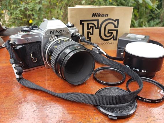Máquina Fotográfica Nikon Fg Analógica Com Acessórios