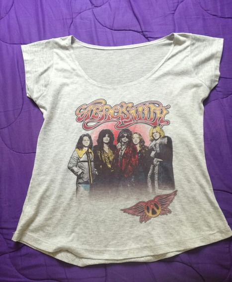 Remera Gris Aerosmith Dama Banda Rock