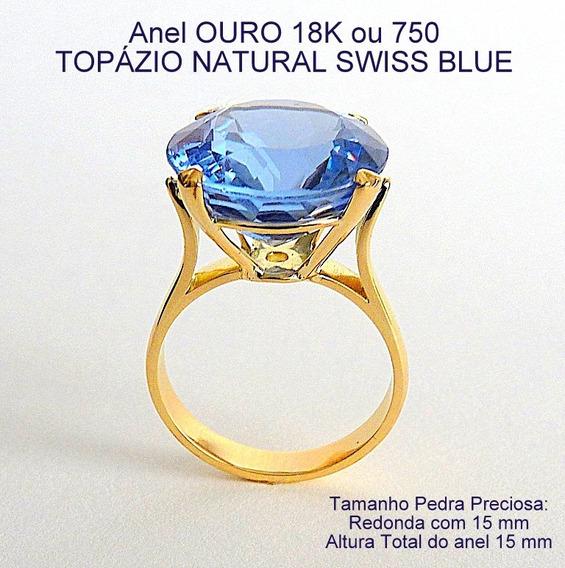 Anel De Ouro 18k Com Topázio Natural Swiss Blue 1902