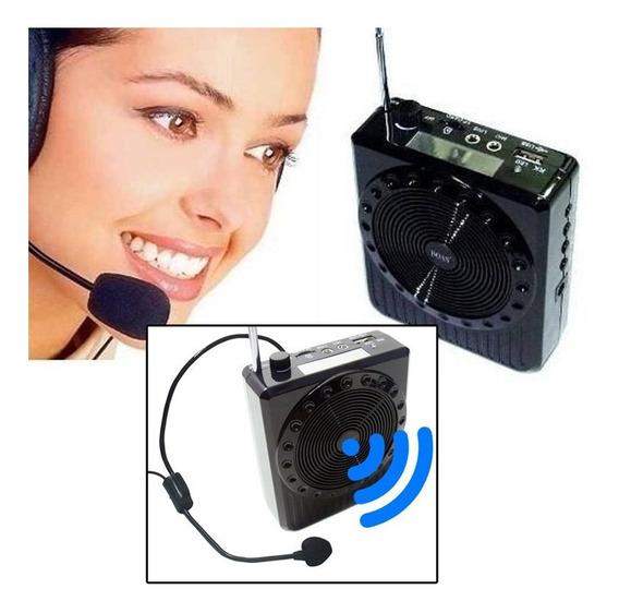 Megafone Amplificador Voz Microfone Aula Radio Fm Usb Mp3 Sk