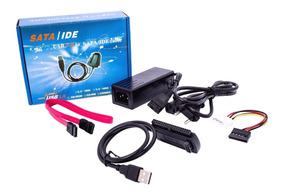 Cabo Adaptador Usb 2.0 Ide Sata Hd Dvd Conversor Pc 3x1