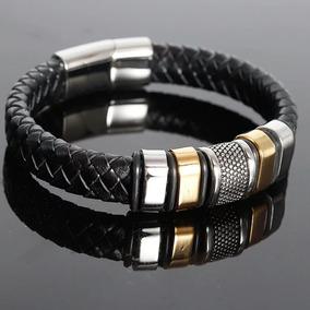 Bracelete Pulseira Masculino Couro Legitímo Aço Inox 316