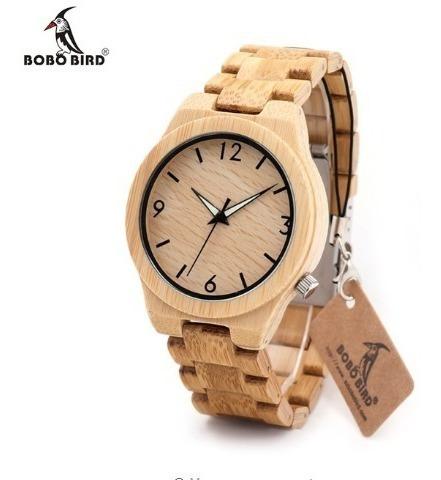 Relógio Pulso Madeira Bambu Bobo Bird Original - L-d27