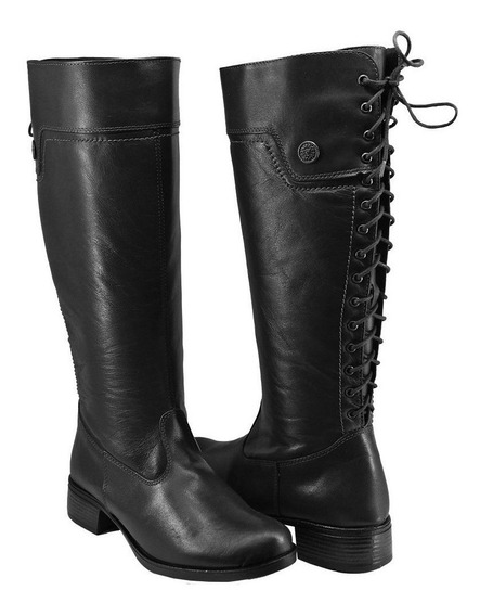 Bota Feminina Montaria Confort Shoes Couro Legítimo Ref1007