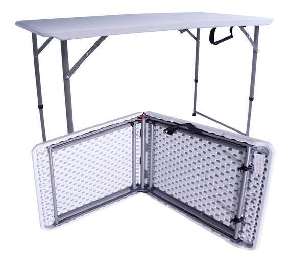 Mesa Plegable Plastico Tipo Portafolio 1.22m Jadrín Fiesta