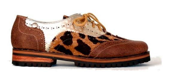 Zapatos Mujer Mocasin Bajos Cuero Combinado Marron Leblu 681