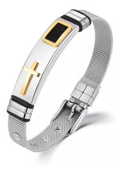 Pulseira Bracelete Masculina Banhada Ouro 18k Cruz Aço Inox