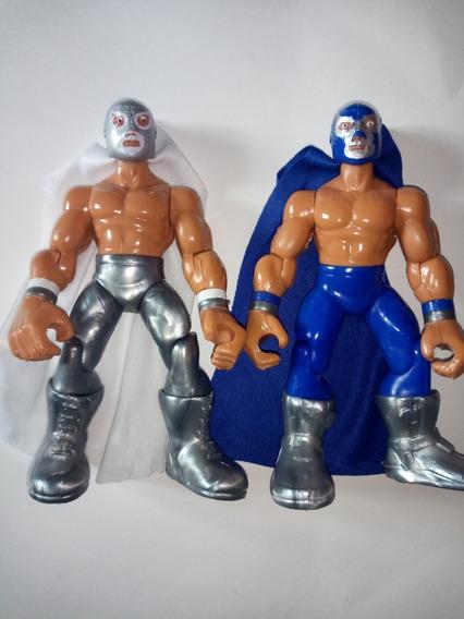 Par De Figuras Muñecos De Lucha Libre Luchador Santo Paton