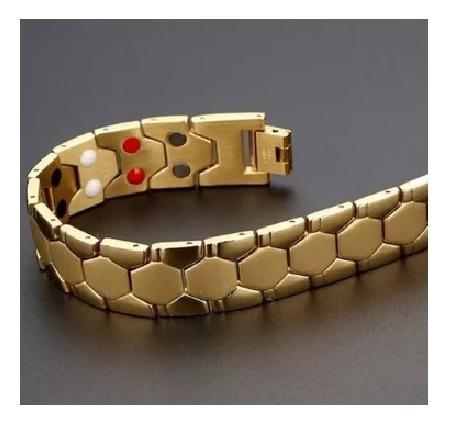 Pulseira Homens Bracelete Aço Titânio + Ouro 18k Dourado