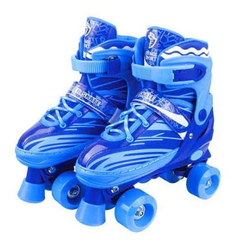 Imagem 1 de 8 de Patins 4 Rodas Clássico Azul Roller Skate C/ Ajuste Promoção
