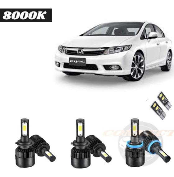 Kit Ultra Led 8000k Techone New Civic Todos Alta/baixa/milha