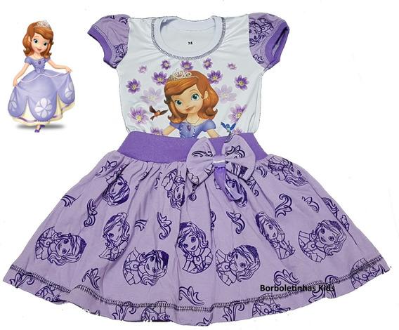 Vestido Infantil Princesinha Sofia Regata Ou Manga Fab4