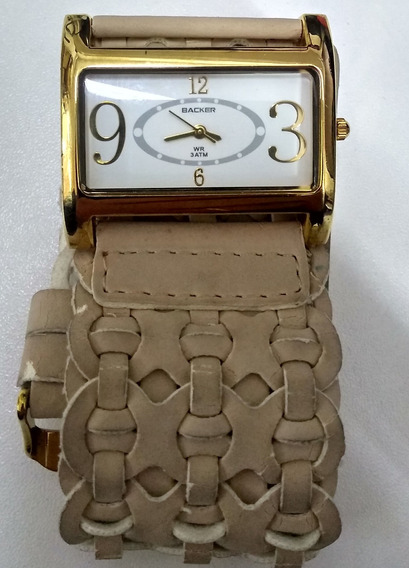Relógio Feminino Pulseira De Couro Baker Baratissimo De Vitrine