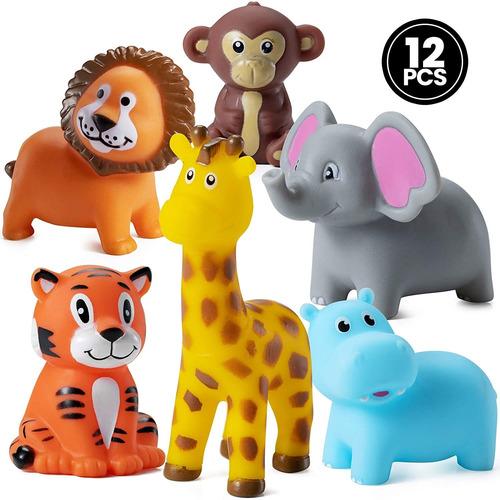 Imagen 1 de 8 de Mini Animales De Zoologico Apretables (12 Unidades) De Vinil