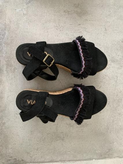 Zapato Negro Viamo Verano Excelente Estado