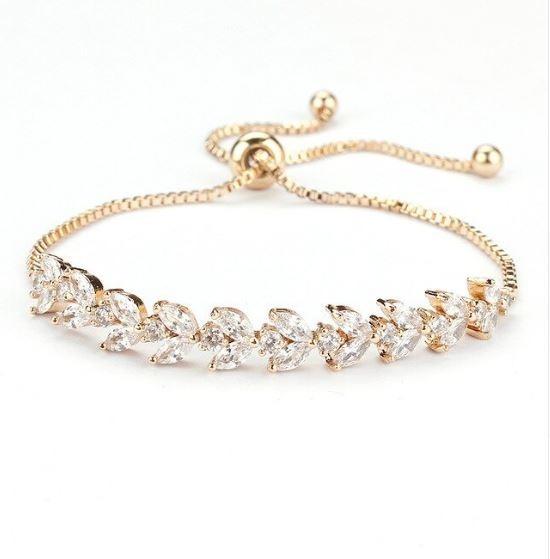 Pulseira Bracelete Dourada Zircônia Noiva Debutante 15 Anos