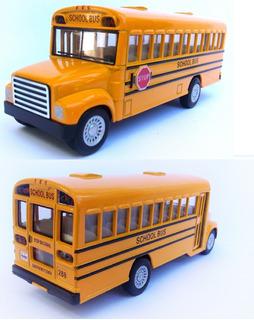 Ônibus Escolar Americano Antigo Miniatura Carro Ferro 13cm F