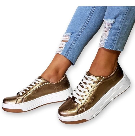 Zapato Zapatilla Mujer Charol Sneaker Urbana Plataforma Moda