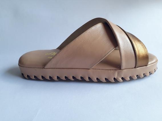 Chinelo De Quarto Em Couro Feminino Ref41 Slipper Confort
