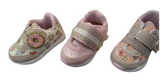 Tenis Feminino Infantil Bebê Velcro Estampado Do 16 Ao 22