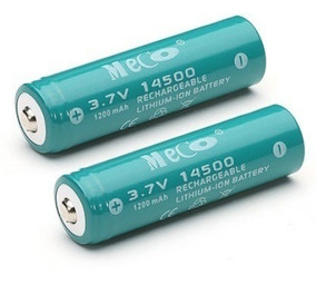 Bateria 14500 Recarregável Meco 3.7v 1200mah - 4 Unidades