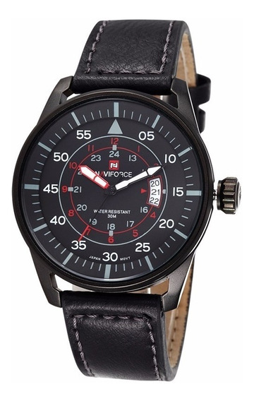 Relógio Militar Esportivo Naviforce Nf9044m Pulseira Couro