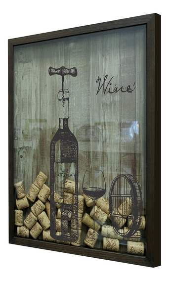Quadro Porta Rolhas Com Vidro 32x42cm