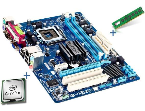 Placa Mãe Gigabyte + Processador Core 2 Duo E7500 + Mem Ram