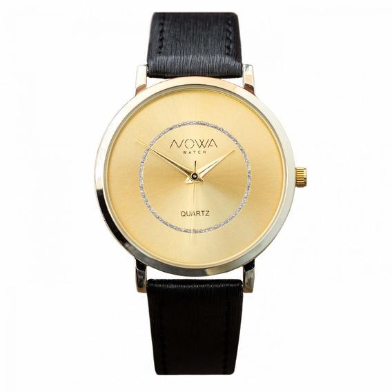 Relógio Nowa Dourado Feminino Couro Nw1409k Original